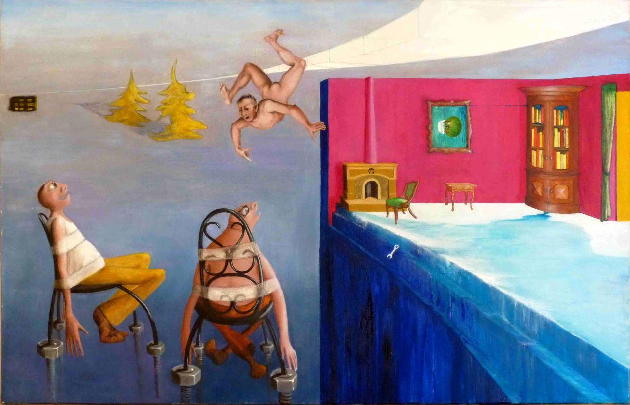 un personnage à deux moments différents regarde un homme tomber ou voler suivant l'orientation du tableau