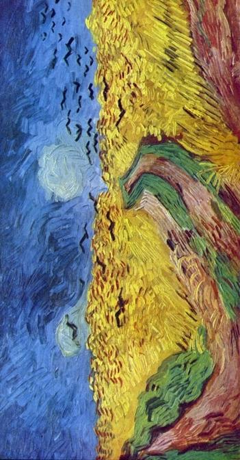 le champ de blé aux corbeaux dans le sens vertical